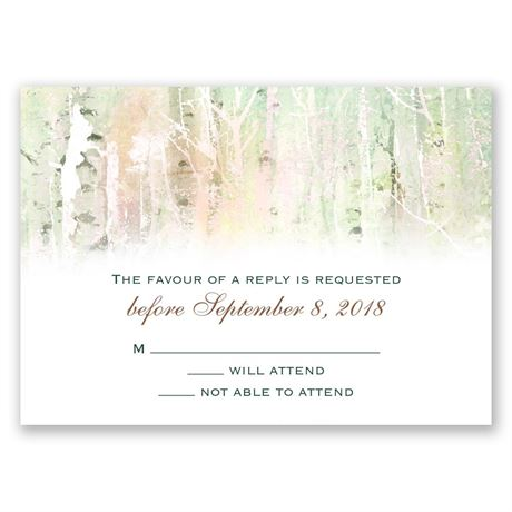 Watercolor Birch Trees Response Card
