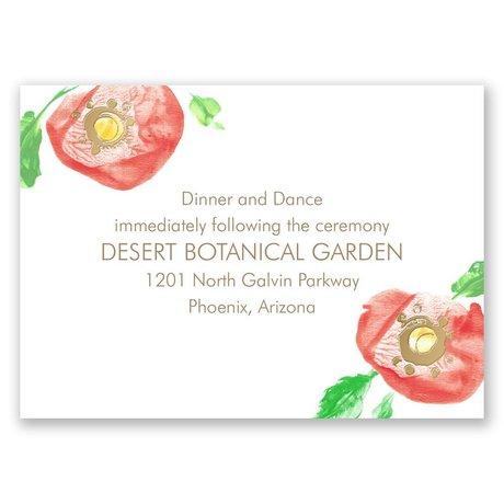 Pretty Poppies - Gold - Foil Reception Card