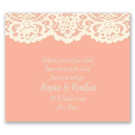 Lace Embrace - Ecru Reception Card