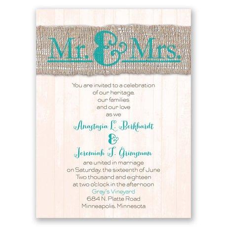 Burlap Band Mr. & Mrs. Petite Invitation