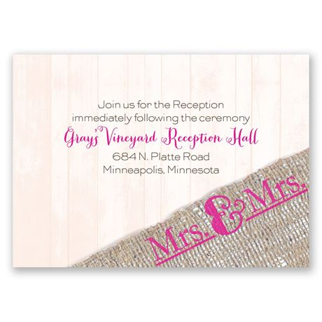 Burlap Band Mrs. & Mrs. Reception Card