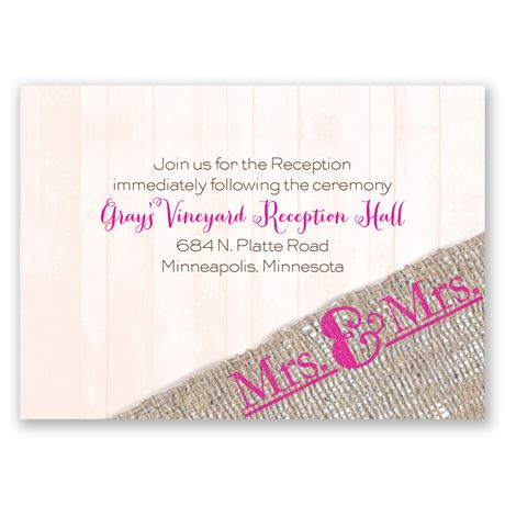 Burlap Band Mrs. & Mrs. Reception Card