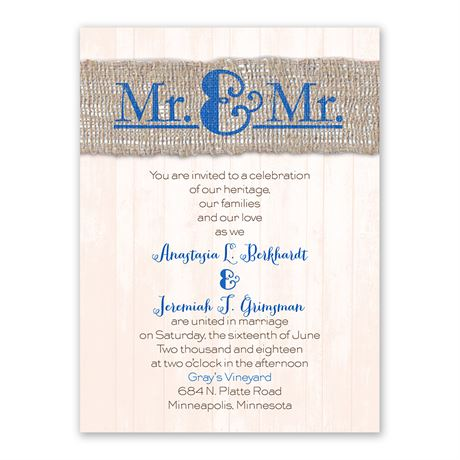 Burlap Band Mr. & Mr. Petite Invitation
