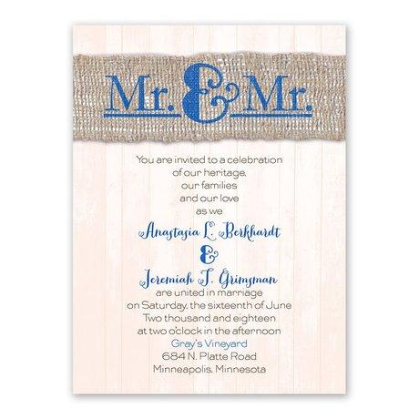 Burlap Band Mr. & Mr. Petite Invitation