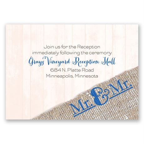 Burlap Band Mr. & Mr. Reception Card