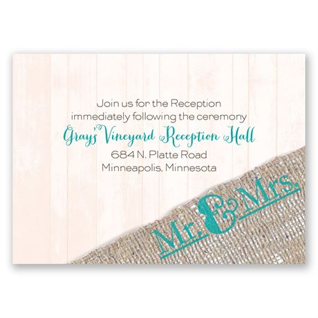 Burlap Band Mr. & Mrs. Reception Card
