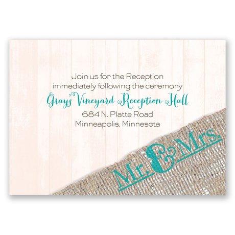 Burlap Band Mr. & Mrs. Reception Card