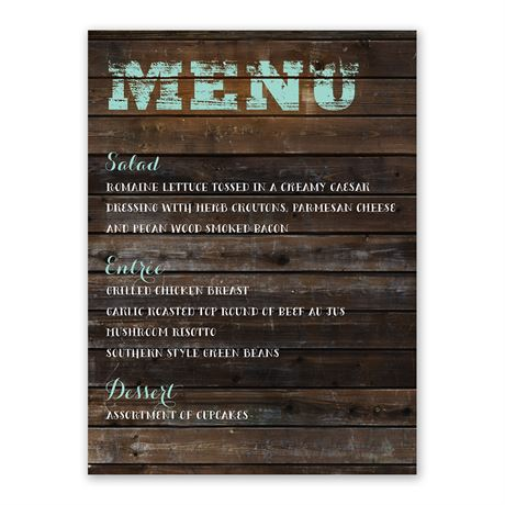 On Board Menu Card