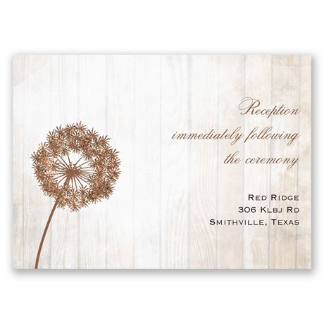 Dandelion Shimmer Real Glitter Reception Card