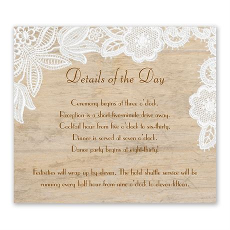 Wood and Lace Information Card