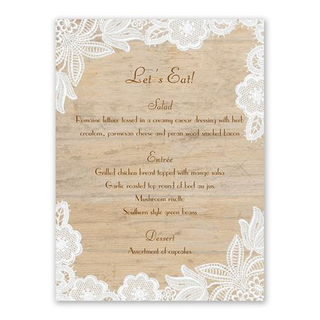 Wood and Lace Menu Card
