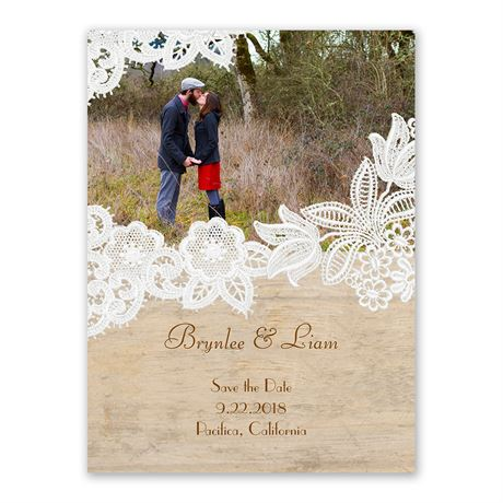 Wood and Lace Save the Date Card