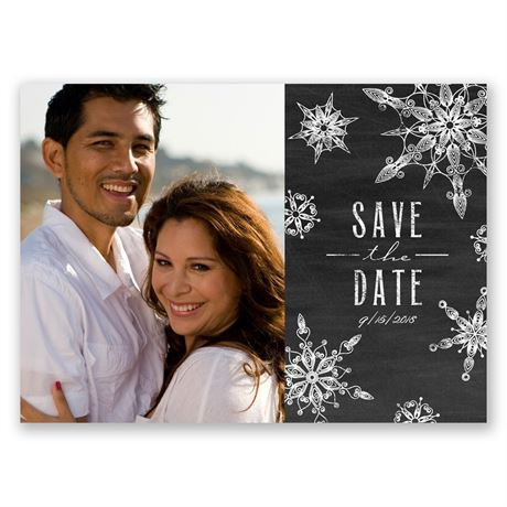 Chalkboard Snowflakes - Holiday Postcard Save the Date