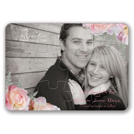 Pink Roses - Save the Date Puzzle