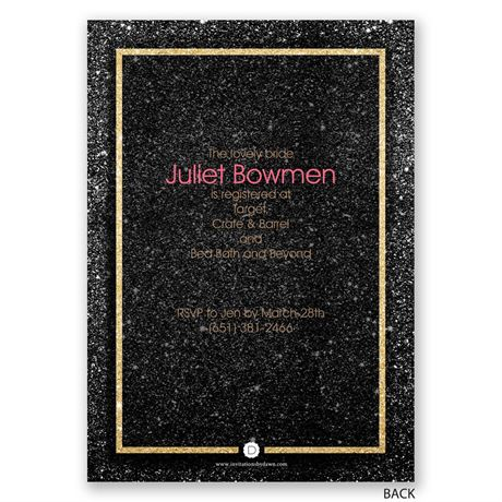 Shining Star - Faux Glitter - Bridal Shower Invitation