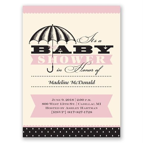 Polka Dot Rain Petite Baby Shower Invitation
