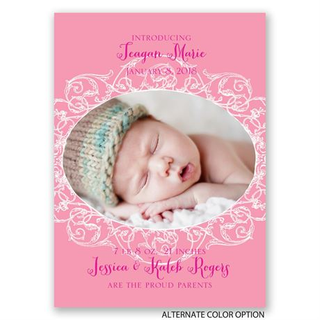 Delicate Lace - Mini Birth Announcement