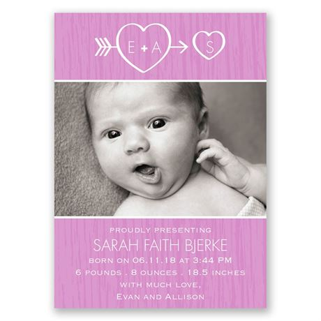 "Cupid""s Arrow Mini Birth Announcement"