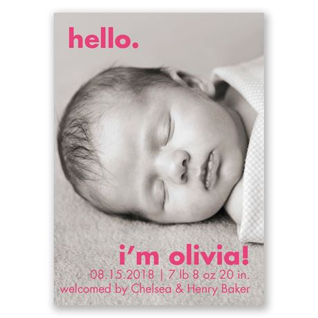 Simple Expression Mini Birth Announcement