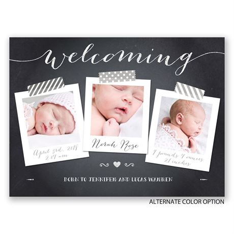 Chalkboard Welcome - Petite Birth Announcement
