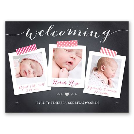 Chalkboard Welcome Petite Birth Announcement