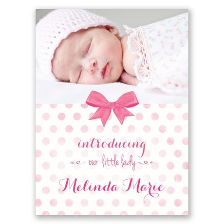 Faded Polka Dots Petite Birth Announcement