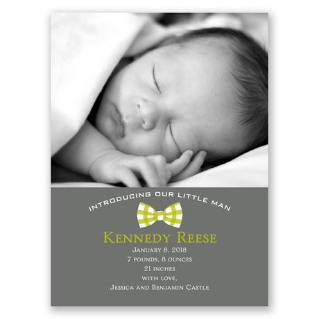 Gingham Bowtie - Petite Birth Announcement