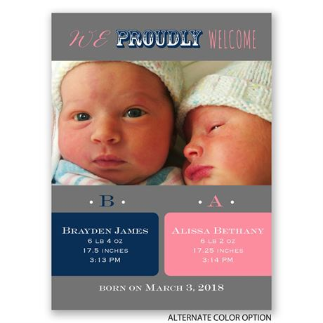 Twice as Nice - Petite Birth Announcement