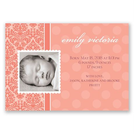 Dots and Damask - Birth Announcement