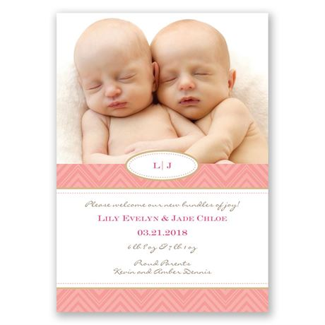 Pretty Chevron Twins Birth Announcement