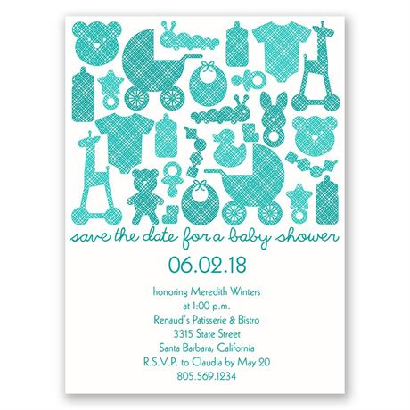 Baby Things Petite Baby Shower Invitation