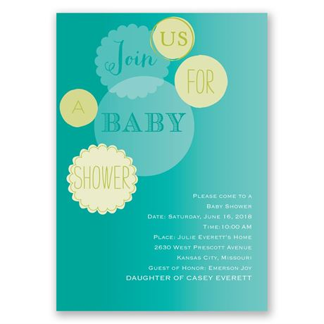 Baby Bubbles Baby Shower Invitation
