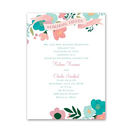 Painted Flowers Petite Rehearsal Dinner Invitation