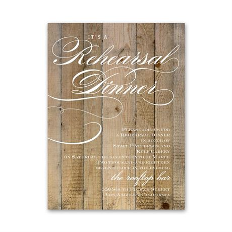 Wood Panels Petite Rehearsal Dinner Invitation