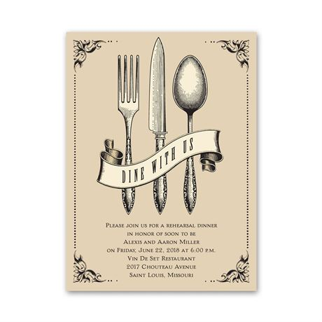 Dine with Us Petite Rehearsal Dinner Invitation