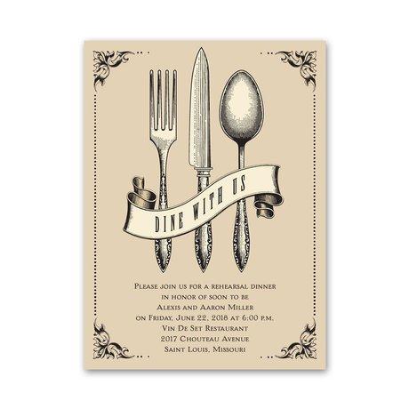 Dine with Us - Petite Rehearsal Dinner Invitation