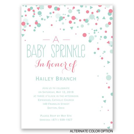 Bright Sprinkles - Petite Baby Shower Invitation