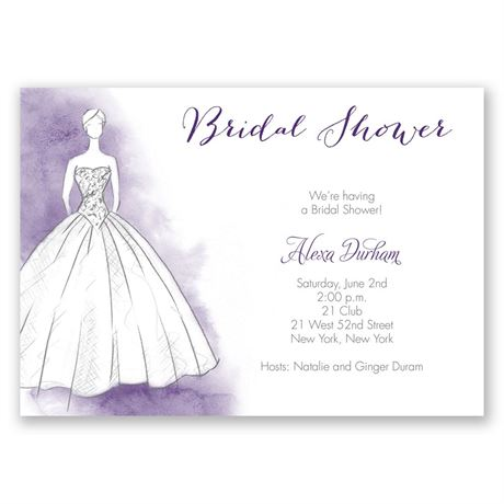 Princess Gown Bridal Shower Invitation