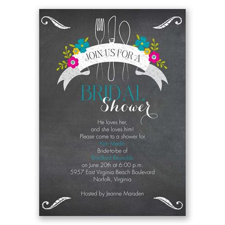 First We Eat Bridal Shower Invitation