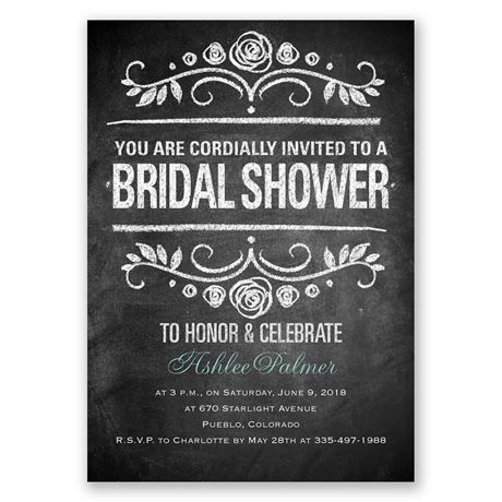 Chalkboard Art Bridal Shower Invitation