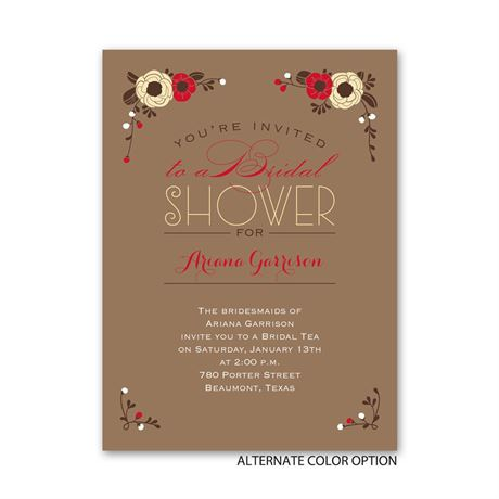 Flowers and Pinstripes - Petite Bridal Shower Invitation