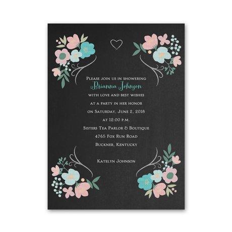 Chalkboard Floral Petite Bridal Shower Invitation