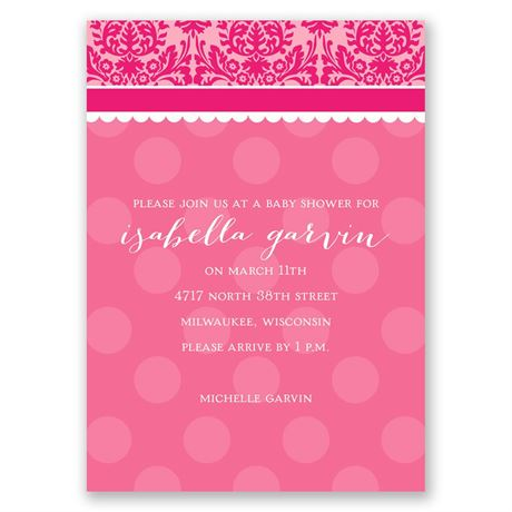 Dots and Damask - Mini Baby Shower Invitation