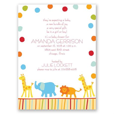 Jungle Friends Petite Baby Shower Invitation