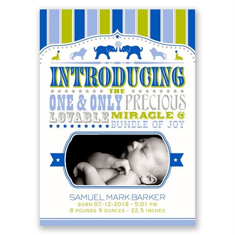 Circus Celebration Mini Birth Announcement