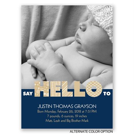 Say Hello - Petite Birth Announcement