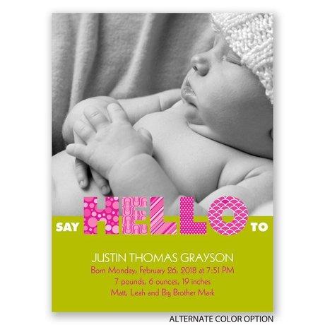 Say Hello - Petite Birth Announcement