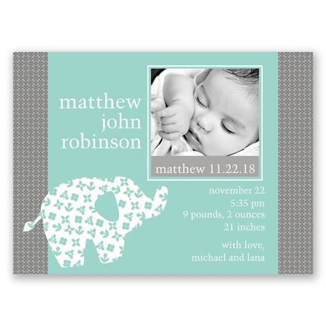 Elephant Patch - Petite Birth Announcement