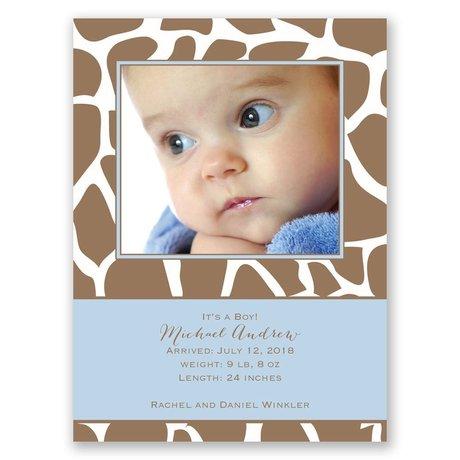 Giraffe Spots Petite Birth Announcement