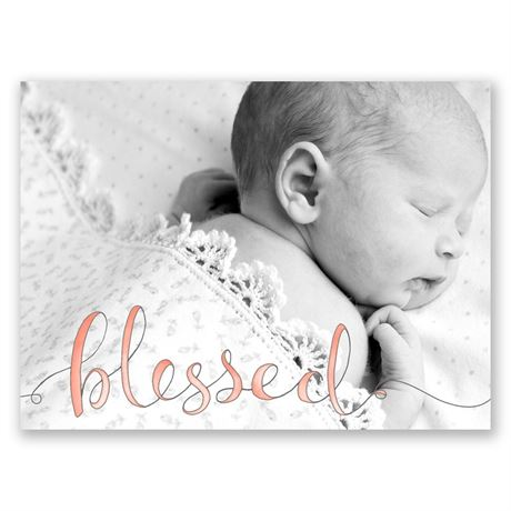 Watercolor Blessed Petite Birth Announcement